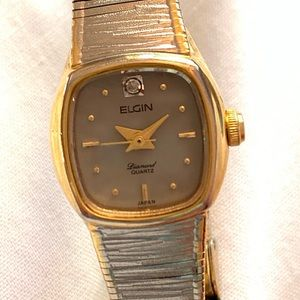 VINTAGE Elgin Silver and Gold Watch